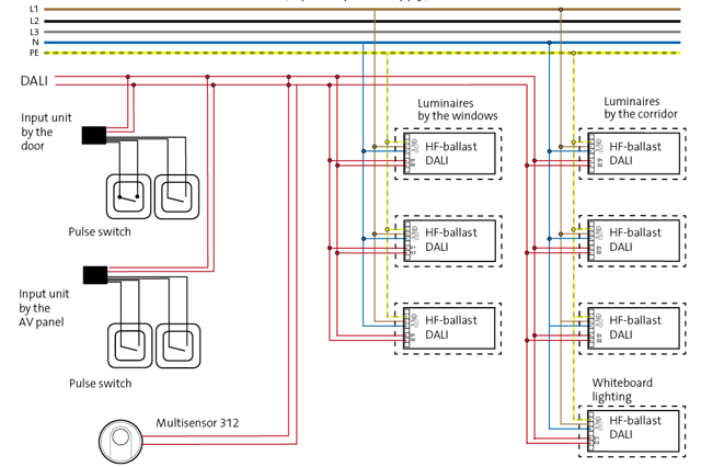 fagerhult_klassrum_dali_digidim_eng installation example classroom with dali dimming fagerhult (norge) lighting control panel wiring diagram at mr168.co